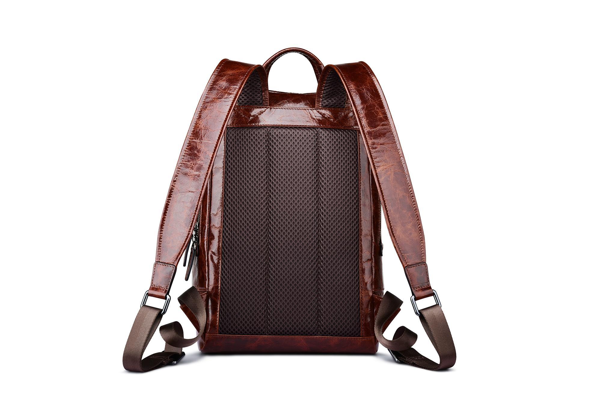 iCarer Vintage Oil Wax Real Leather Backpack 4