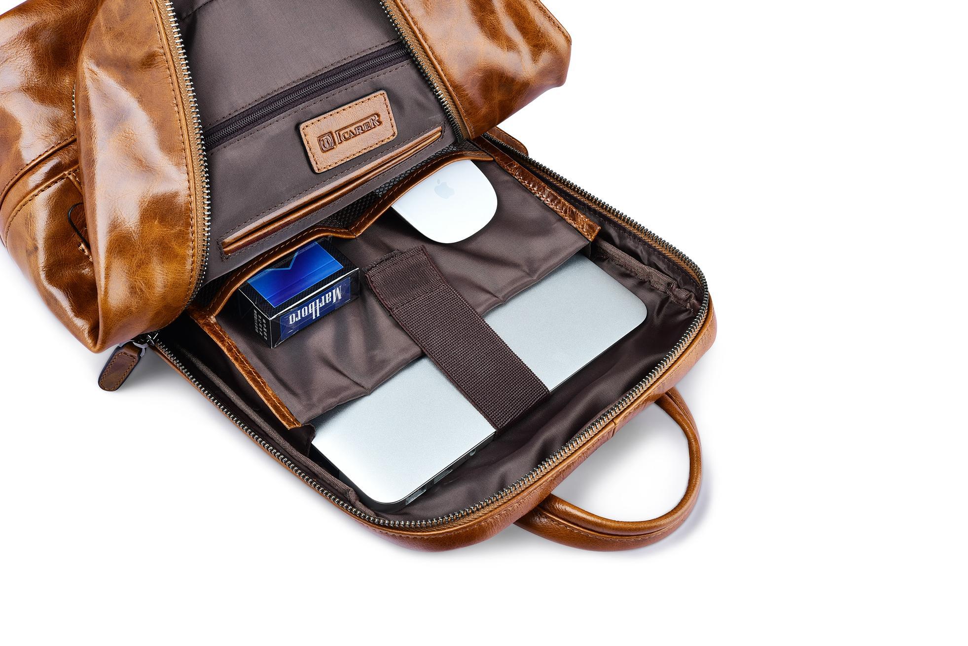 iCarer Vintage Oil Wax Real Leather Backpack 9