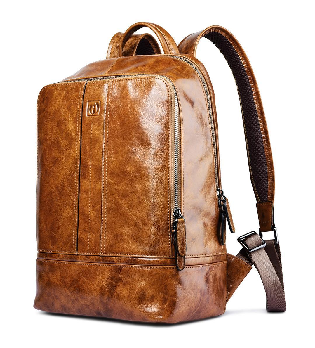 iCarer Vintage Oil Wax Real Leather Backpack 1