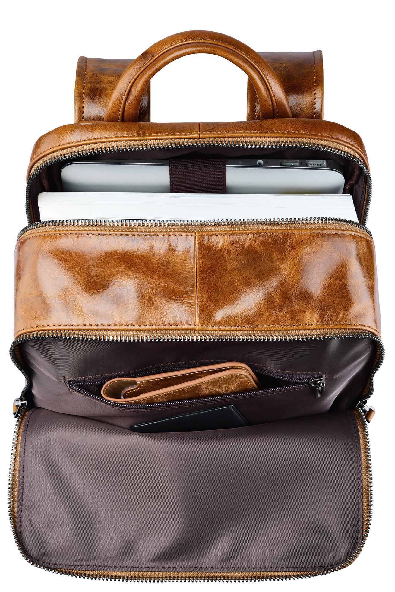 iCarer Vintage Oil Wax Real Leather Backpack 7