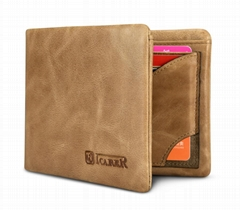 iCarer Shenzhou Real Leather Flip Bifold Wallet