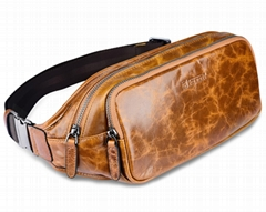 iCarer Vintage Oil Wax Real Leather Waist Bag