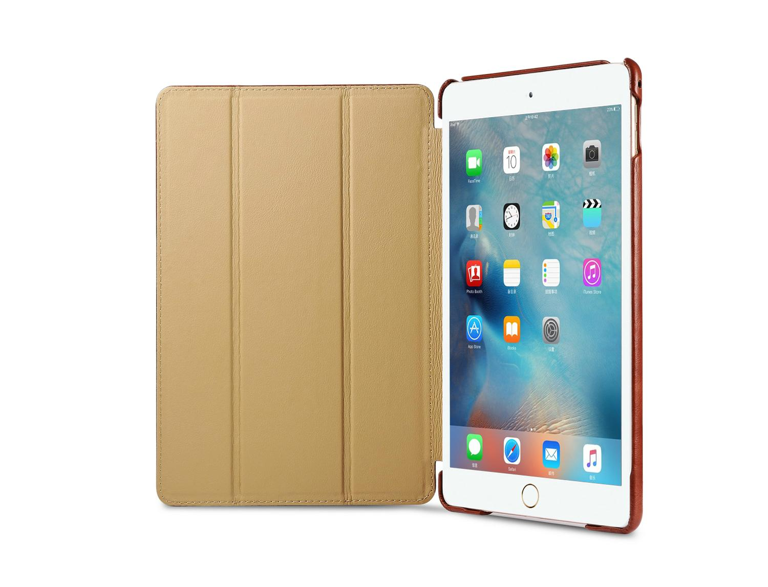iCarer iPad Mini 4 Case folding Vintage Series Genuine Leather Stand Case Cover 7