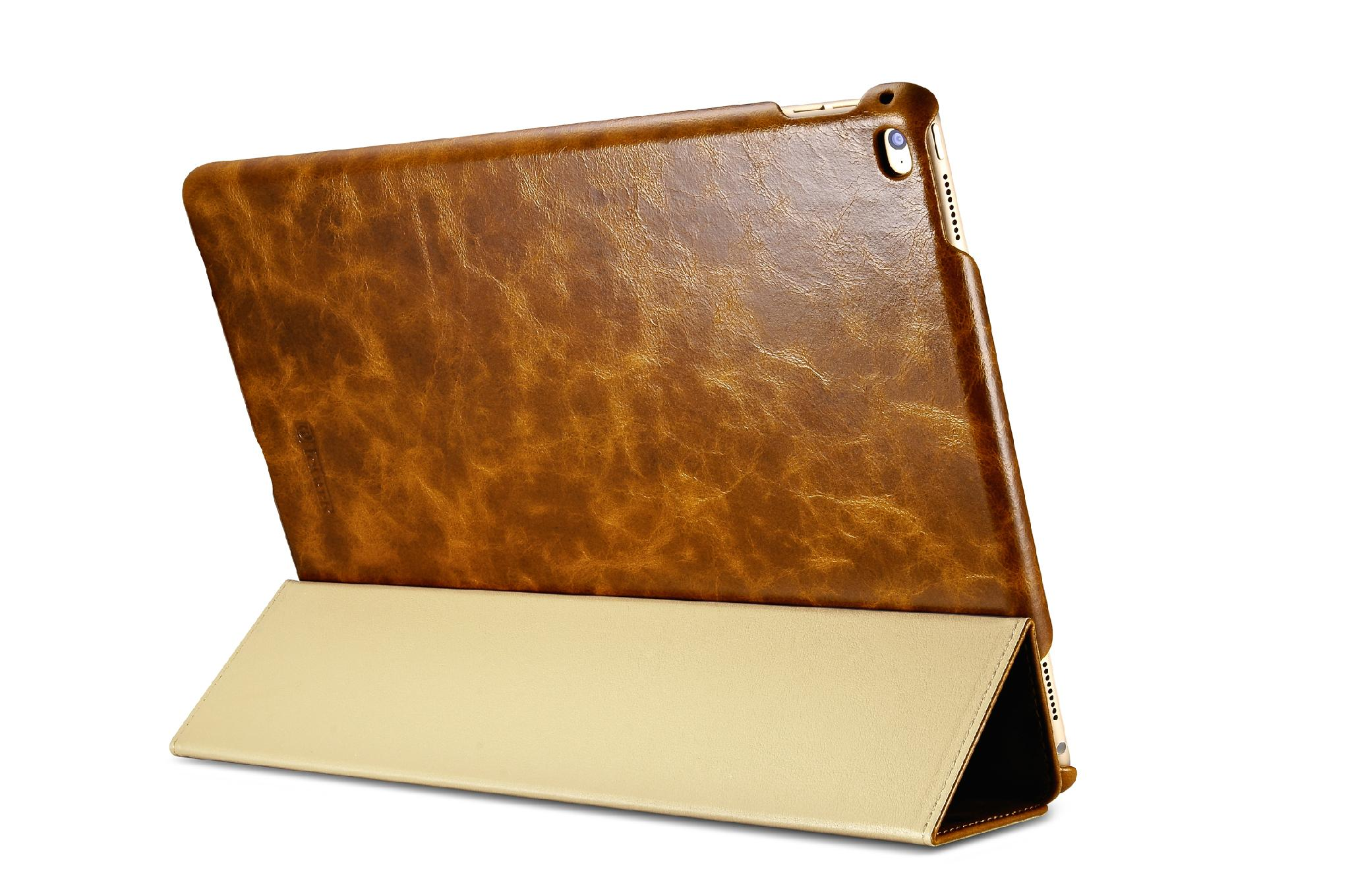 iCarer iPad Pro 12.9 inch Oil Wax Vintage Genuine Leather Folio Case 17