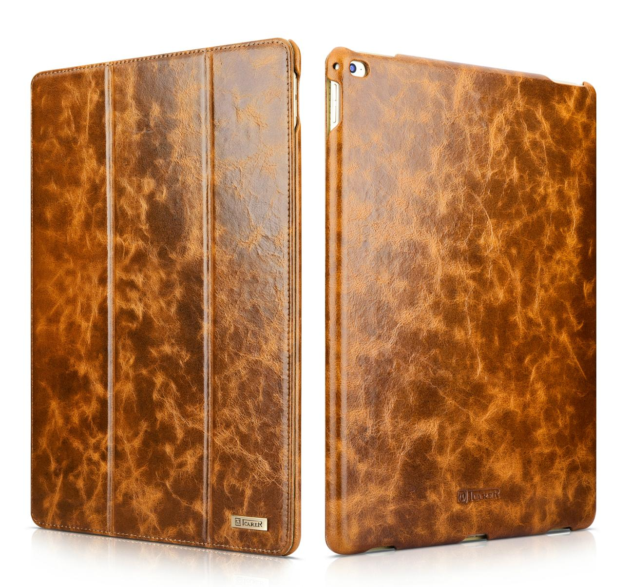 iCarer iPad Pro 12.9 inch Oil Wax Vintage Genuine Leather Folio Case 1
