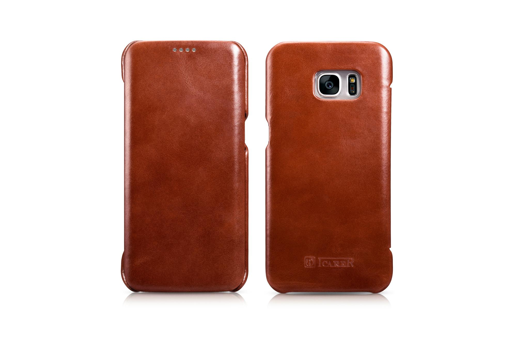 iCarer Samsung Galaxy S7 Edge Vintage Series Side Open Genuine Leather Case 18
