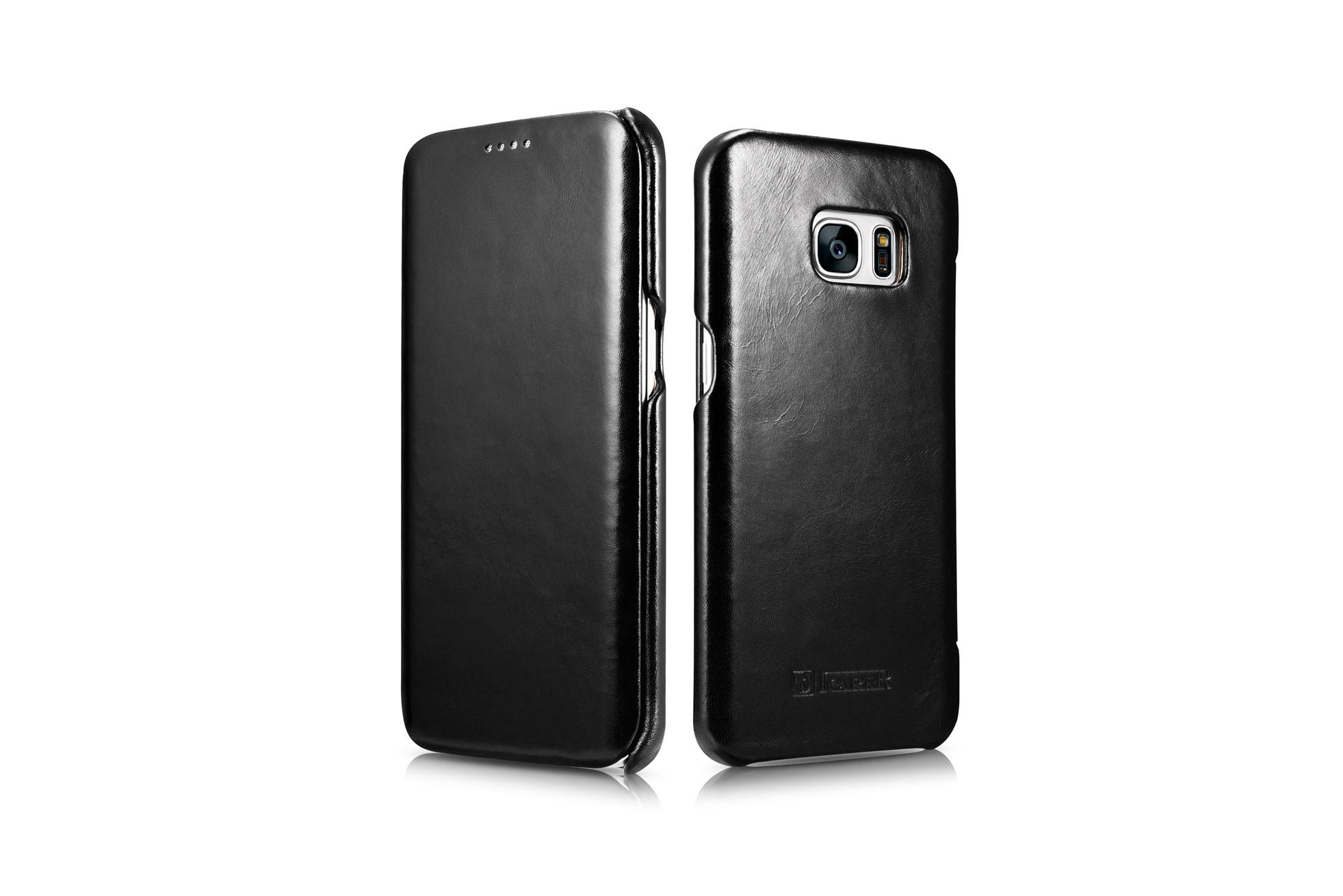iCarer Samsung Galaxy S7 Edge Vintage Series Side Open Genuine Leather Case 4