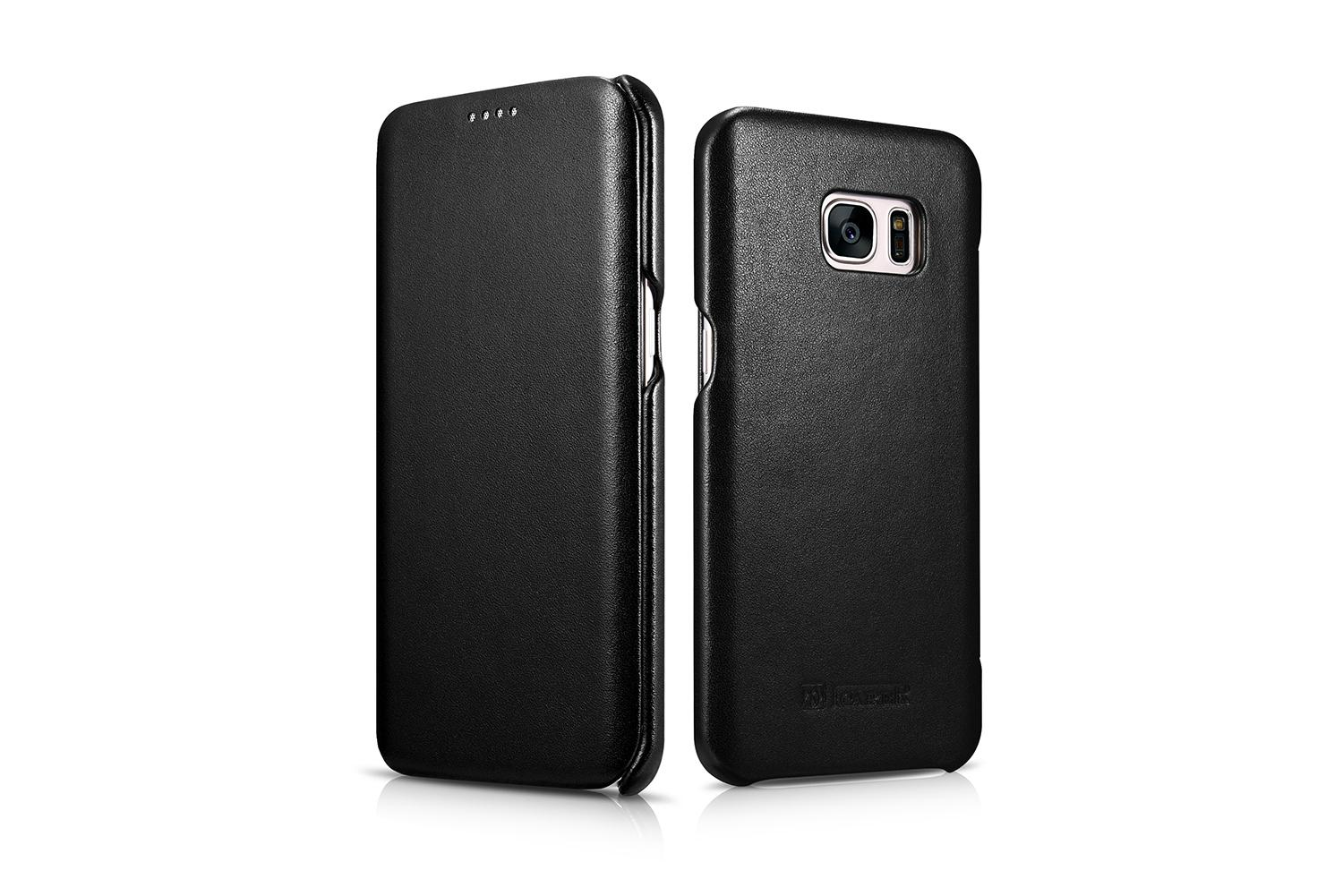 iCarer Samsung Galaxy S7 Edge Luxury Series Side Open Genuine Leather Case 2