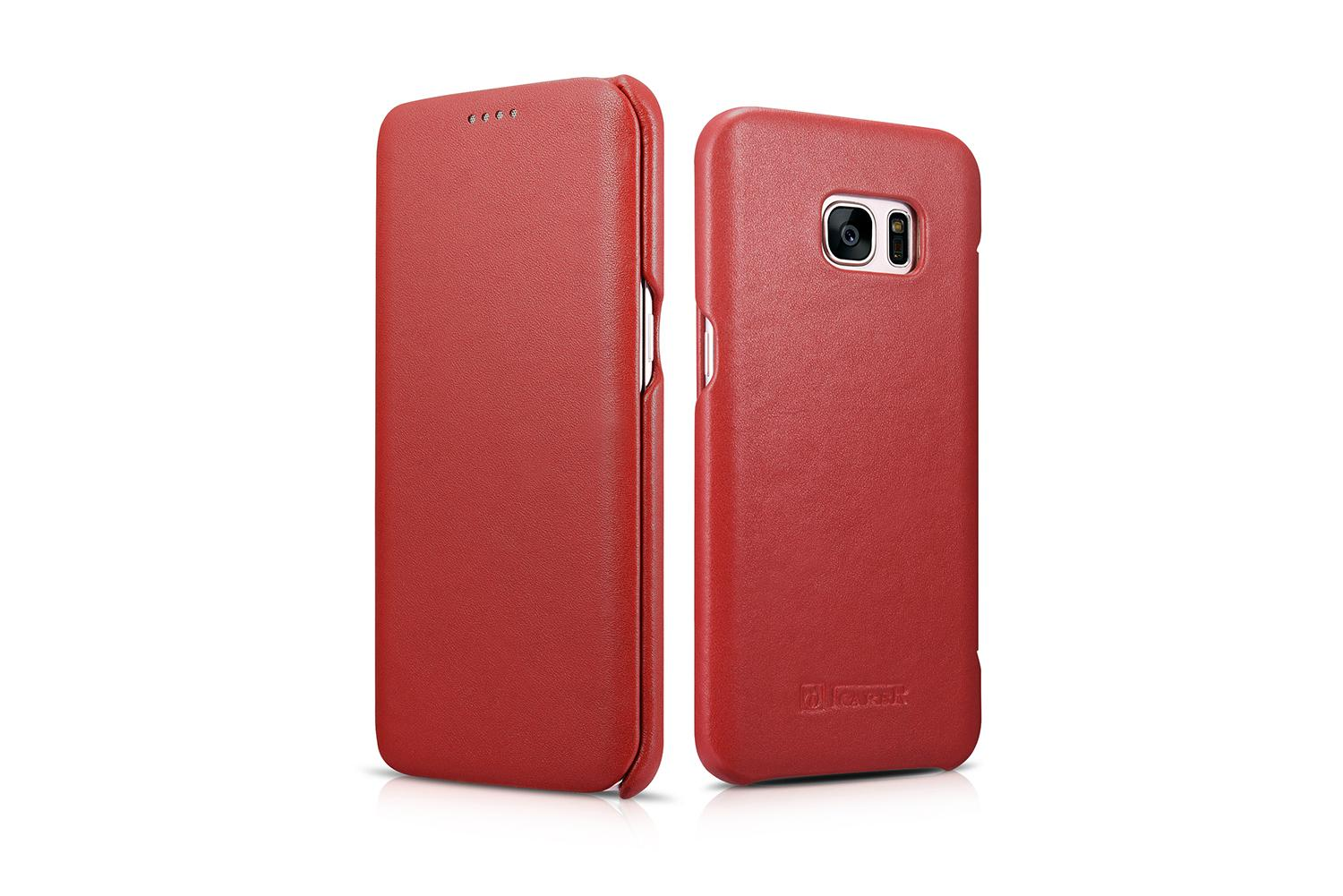 iCarer Samsung Galaxy S7 Edge Luxury Series Side Open Genuine Leather Case 4