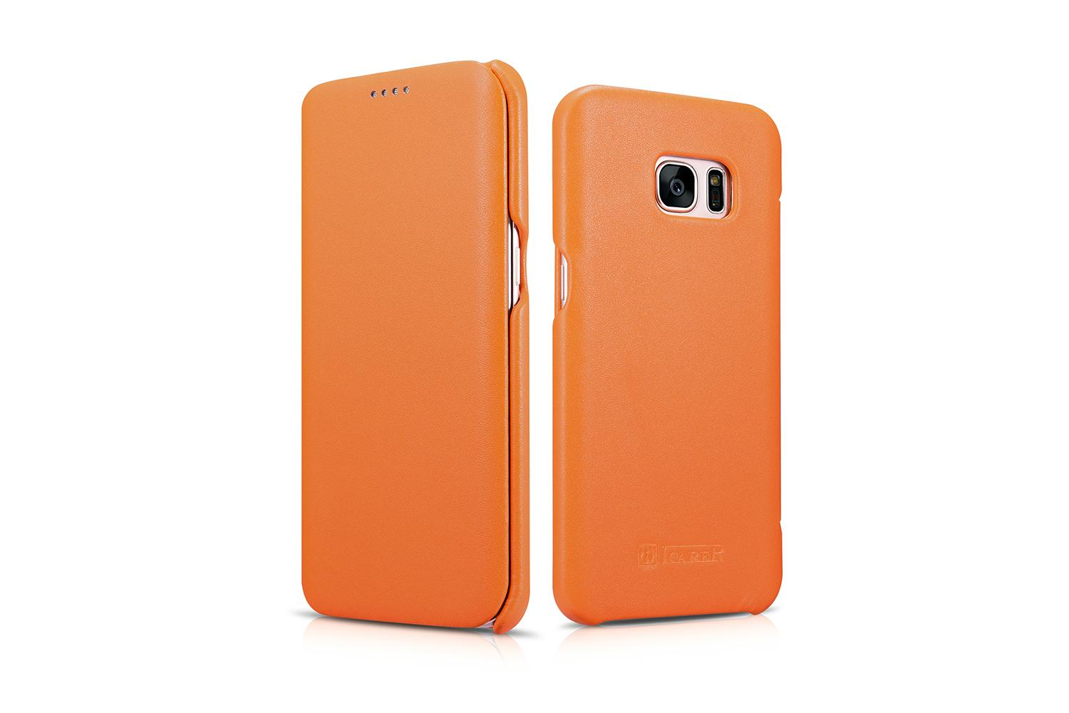 iCarer Samsung Galaxy S7 Edge Luxury Series Side Open Genuine Leather Case 5