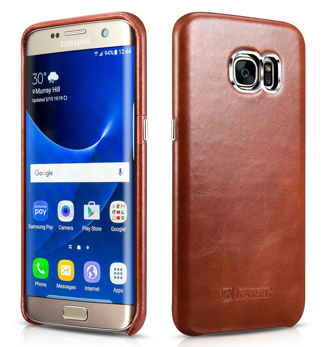 iCarer Samsung Galaxy S7 Edge Vintage Back Cover Series Genuine Leather Case 1