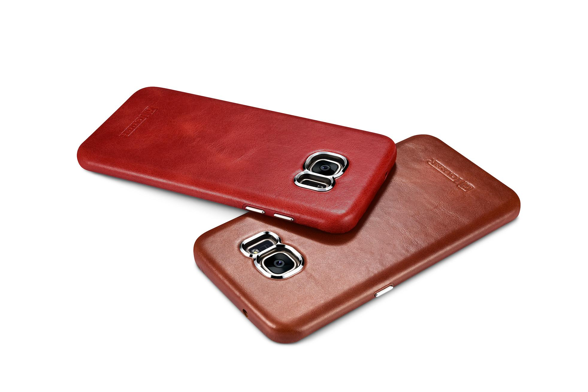 iCarer Samsung Galaxy S7 Edge Vintage Back Cover Series Genuine Leather Case 15