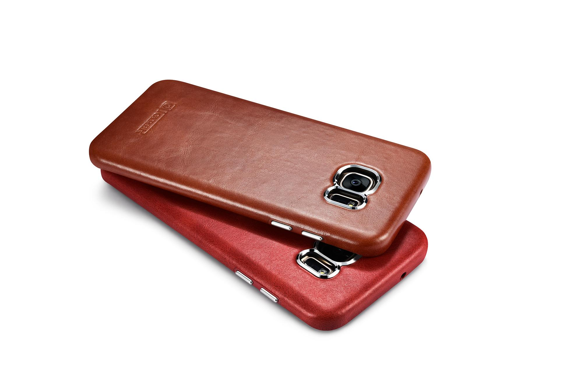 iCarer Samsung Galaxy S7 Edge Vintage Back Cover Series Genuine Leather Case 14