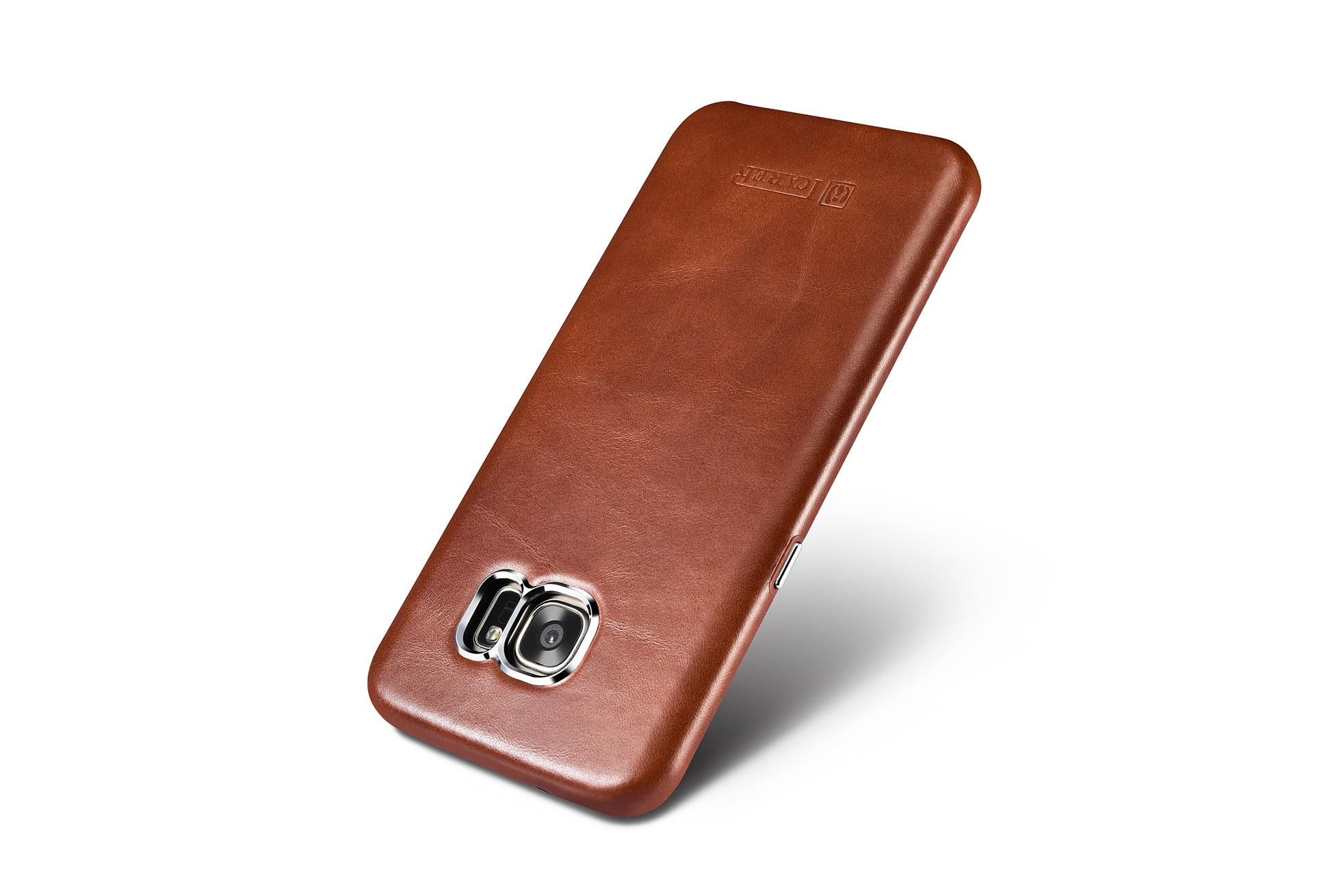 iCarer Samsung Galaxy S7 Edge Vintage Back Cover Series Genuine Leather Case 8