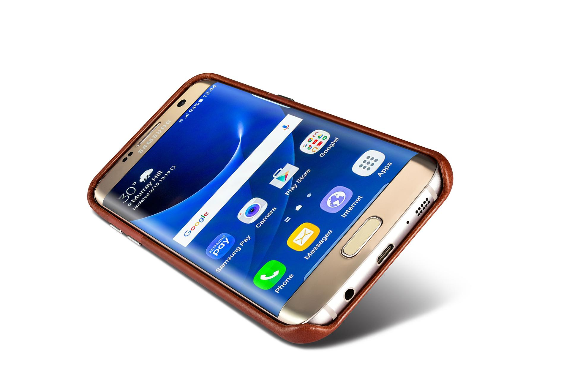 iCarer Samsung Galaxy S7 Edge Vintage Back Cover Series Genuine Leather Case 12