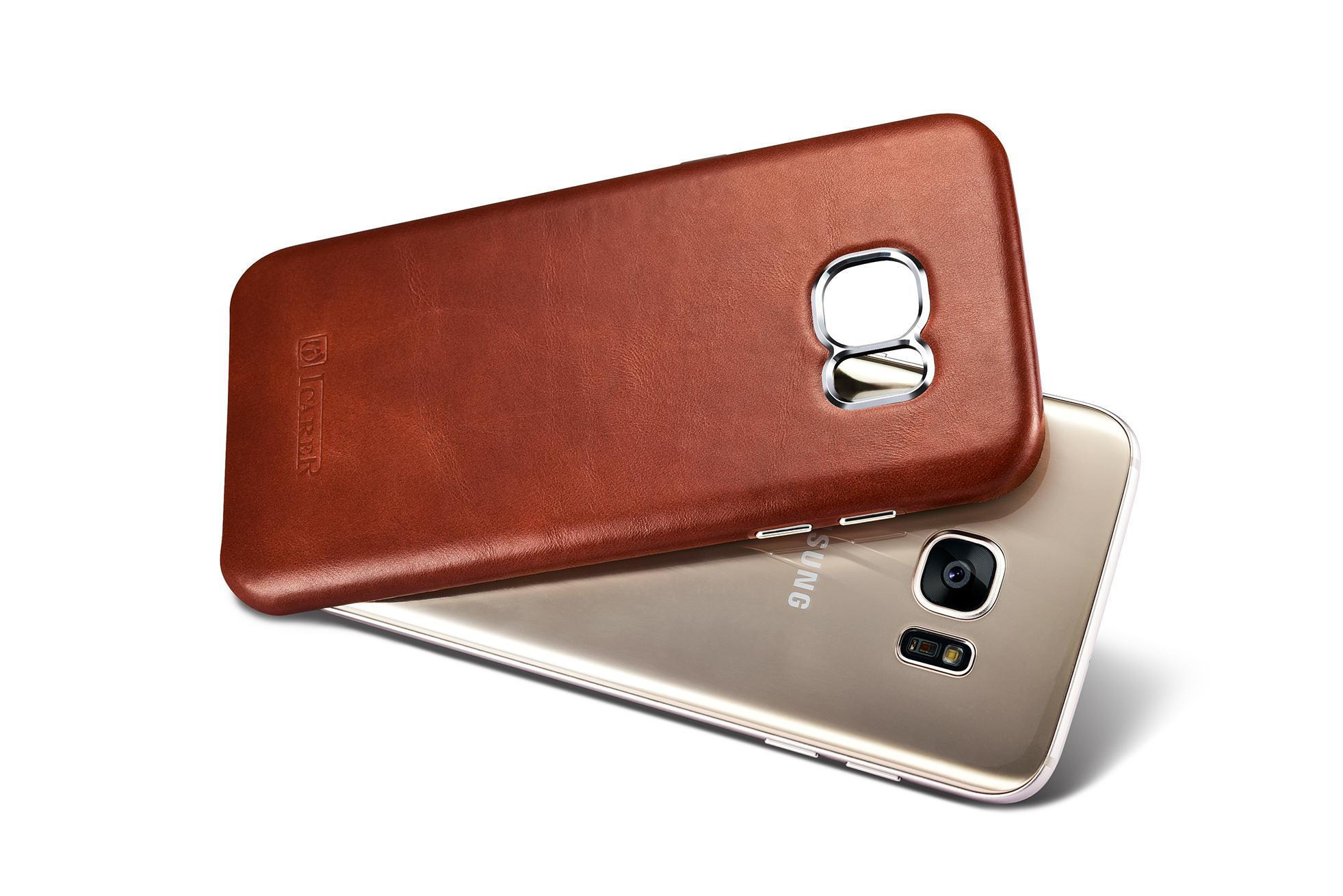 iCarer Samsung Galaxy S7 Edge Vintage Back Cover Series Genuine Leather Case 13