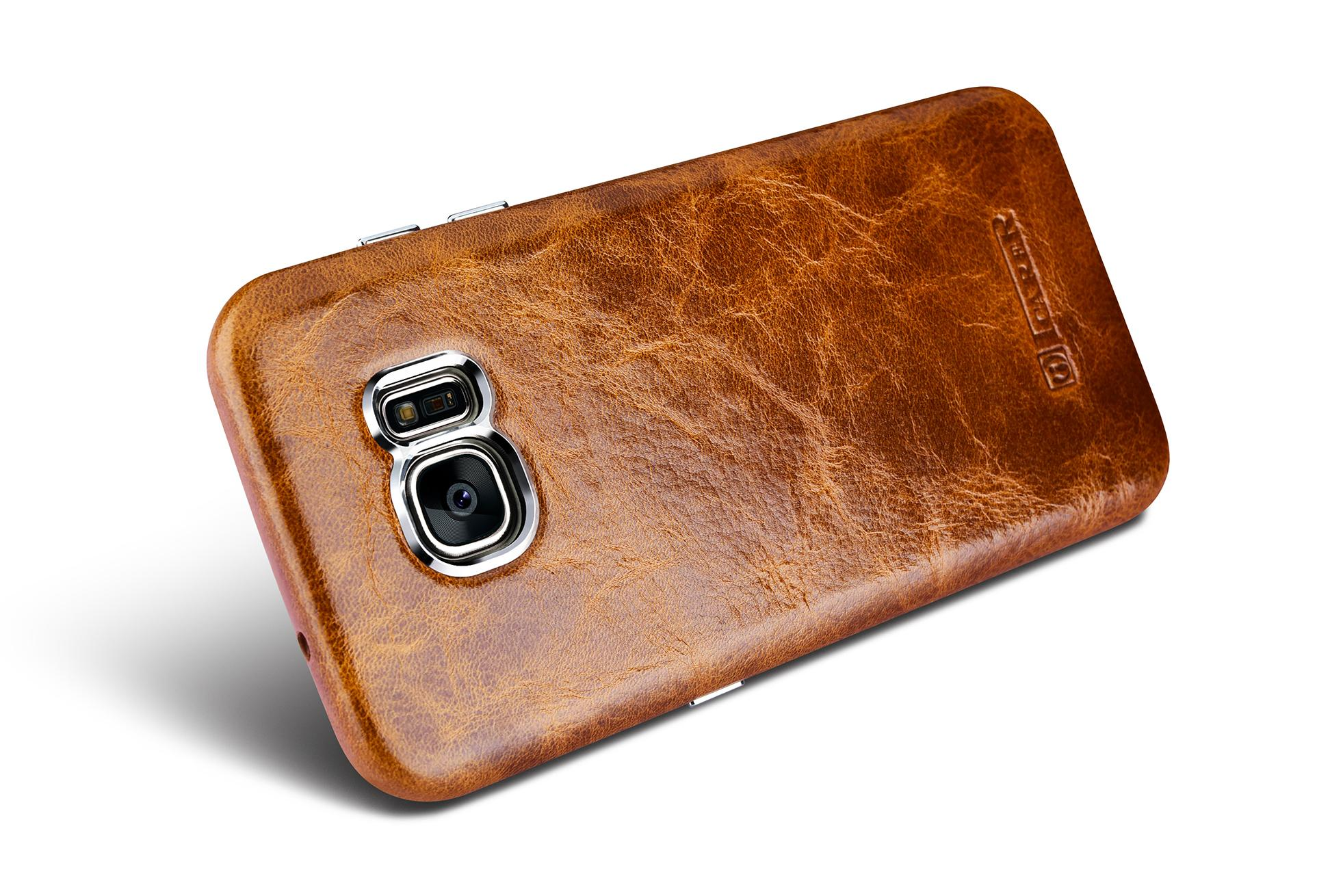 iCarer Samsung Galaxy S7 Edge Oil Wax Back Cover Series Genuine Leather Case 9