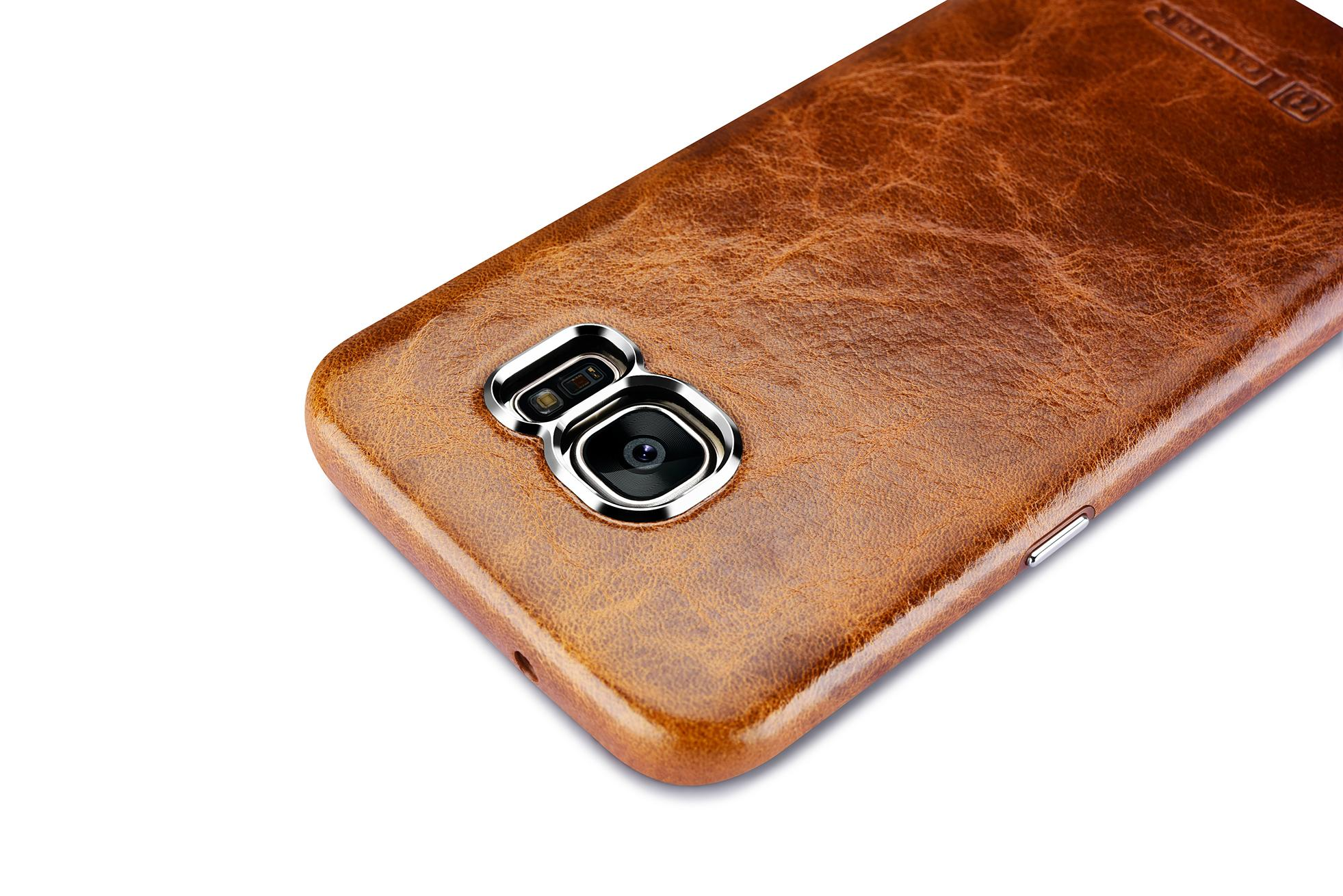 iCarer Samsung Galaxy S7 Edge Oil Wax Back Cover Series Genuine Leather Case 10