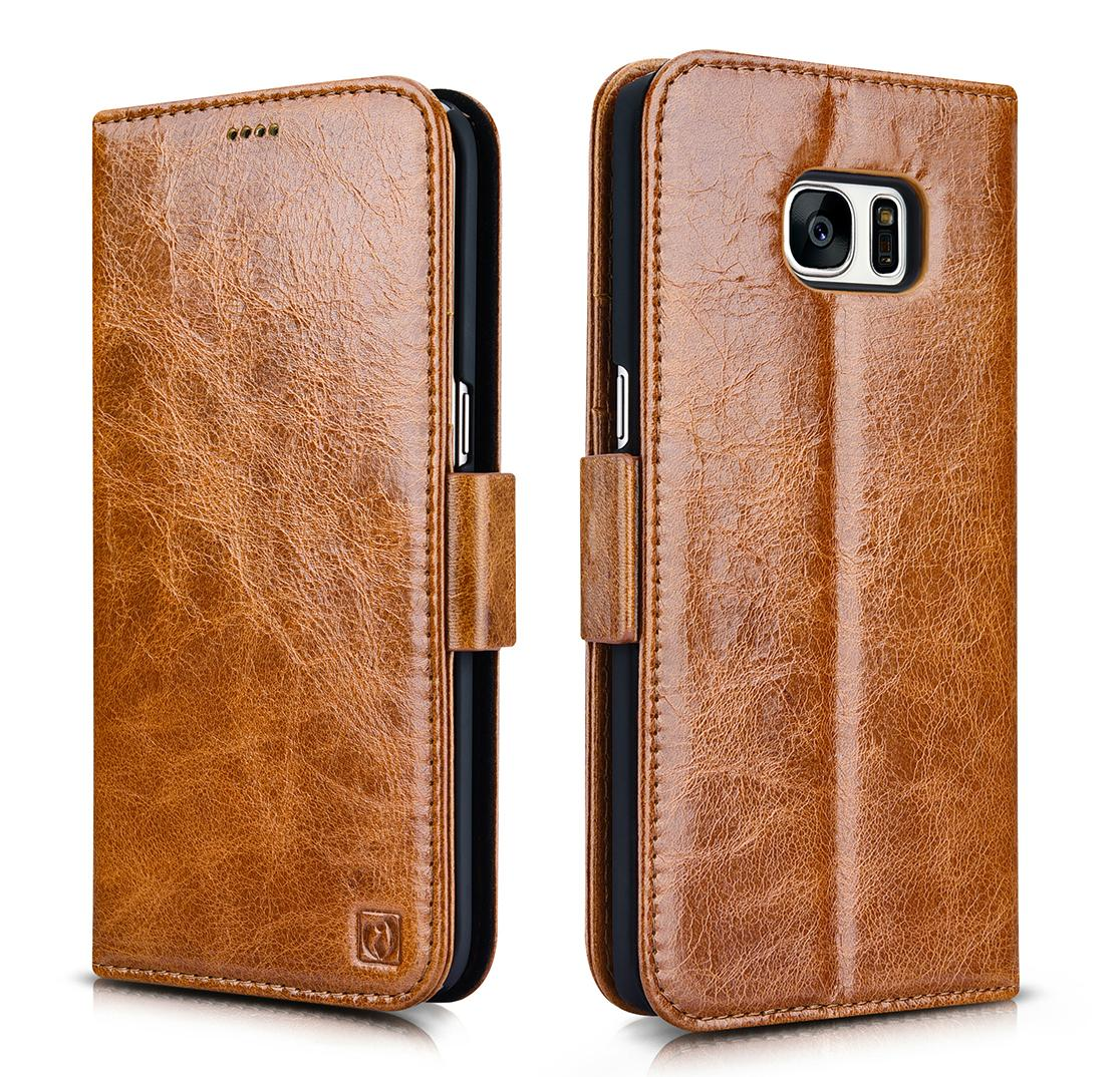 iCarer Samsung Galaxy S7 Edge Oil Wax Leather Detachable 2in1 Wallet Folio Case 1