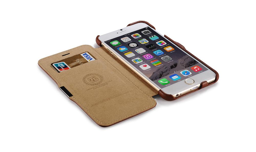 iCarer iPhone 6S Plus Side open Vintage Series Genuine Leather Wallet Stand Case 13