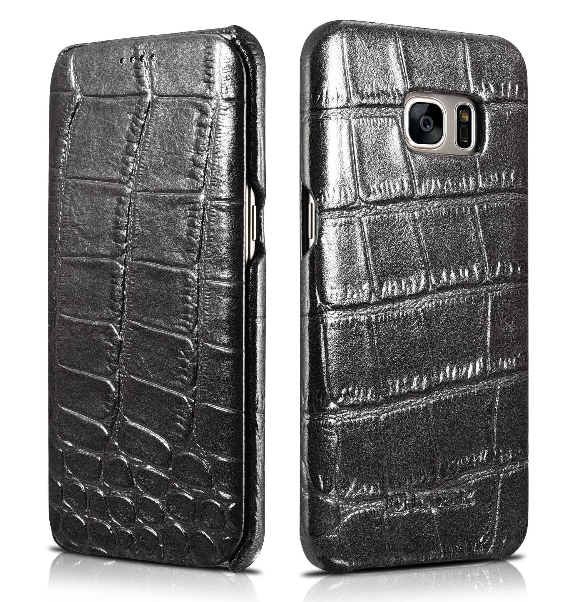 iCarer Samsung Galaxy S7 Edge Embossed Crocodile Genuine Leather Folio Case 1