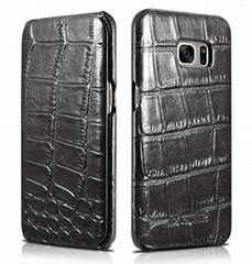 iCarer Samsung Galaxy S7 Edge Embossed Crocodile Genuine Leather Folio Case
