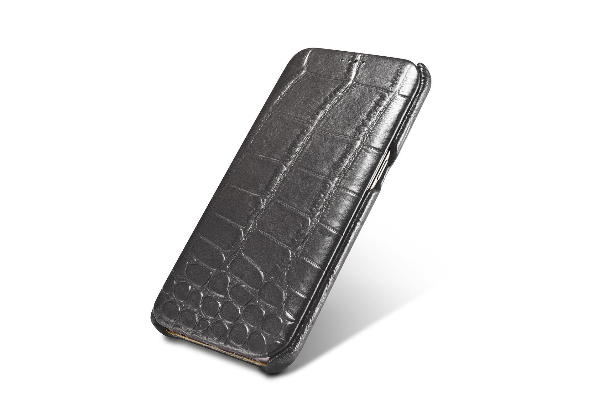 iCarer Samsung Galaxy S7 Edge Embossed Crocodile Genuine Leather Folio Case 2