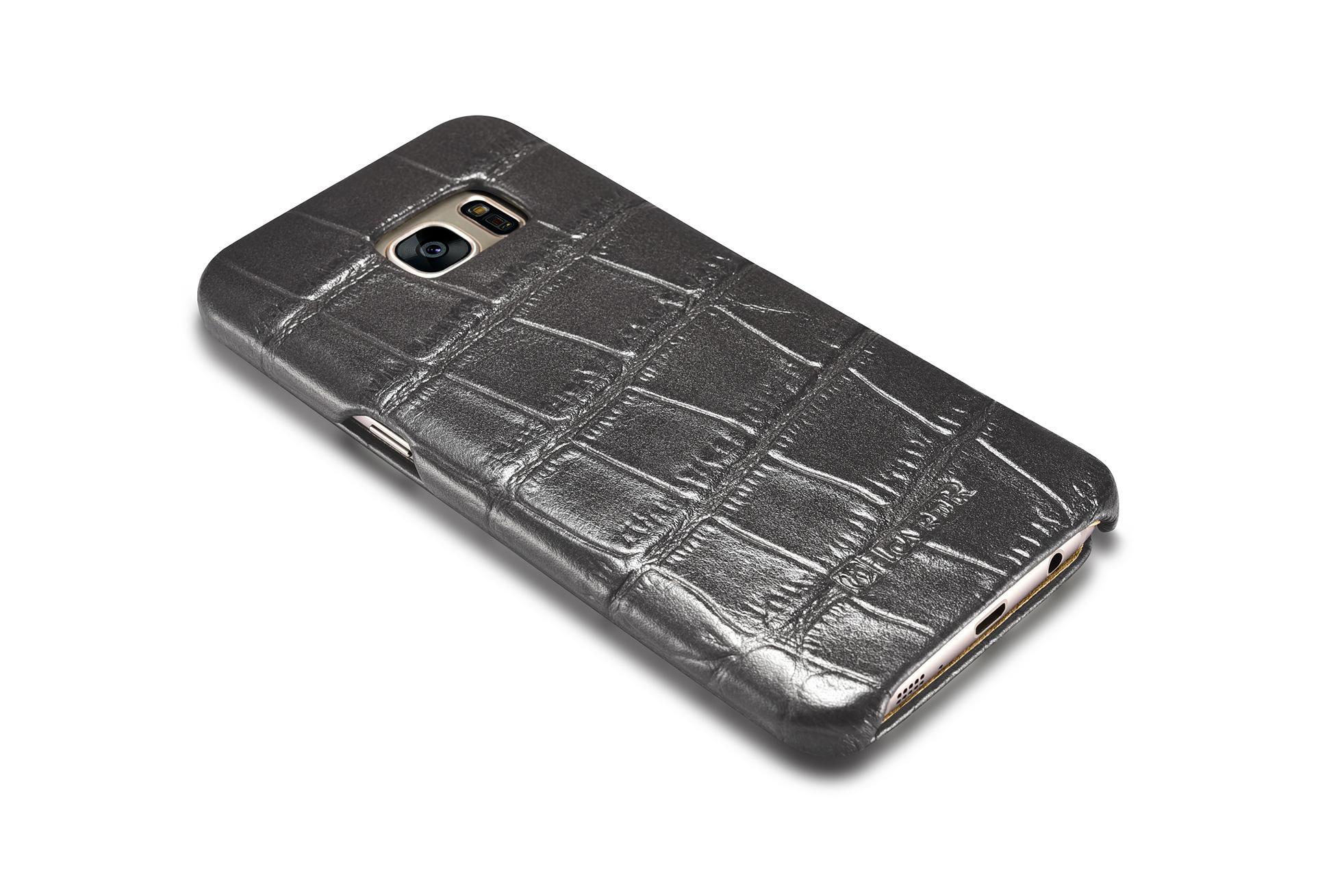 iCarer Samsung Galaxy S7 Edge Embossed Crocodile Genuine Leather Folio Case 11
