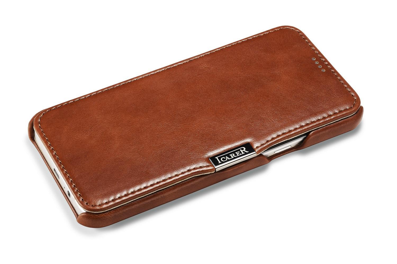 iCarer Samsung Galaxy A8 Case Vintage Series Open Side Genuine Leather Case 6