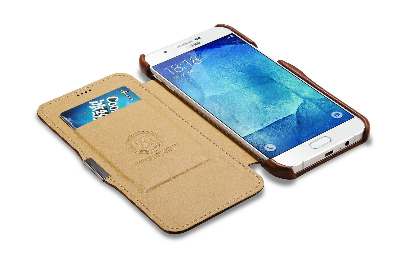 iCarer Samsung Galaxy A8 Case Vintage Series Open Side Genuine Leather Case 14