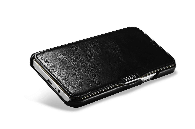 iCarer Samsung Galaxy A8 Case Vintage Series Open Side Genuine Leather Case 10