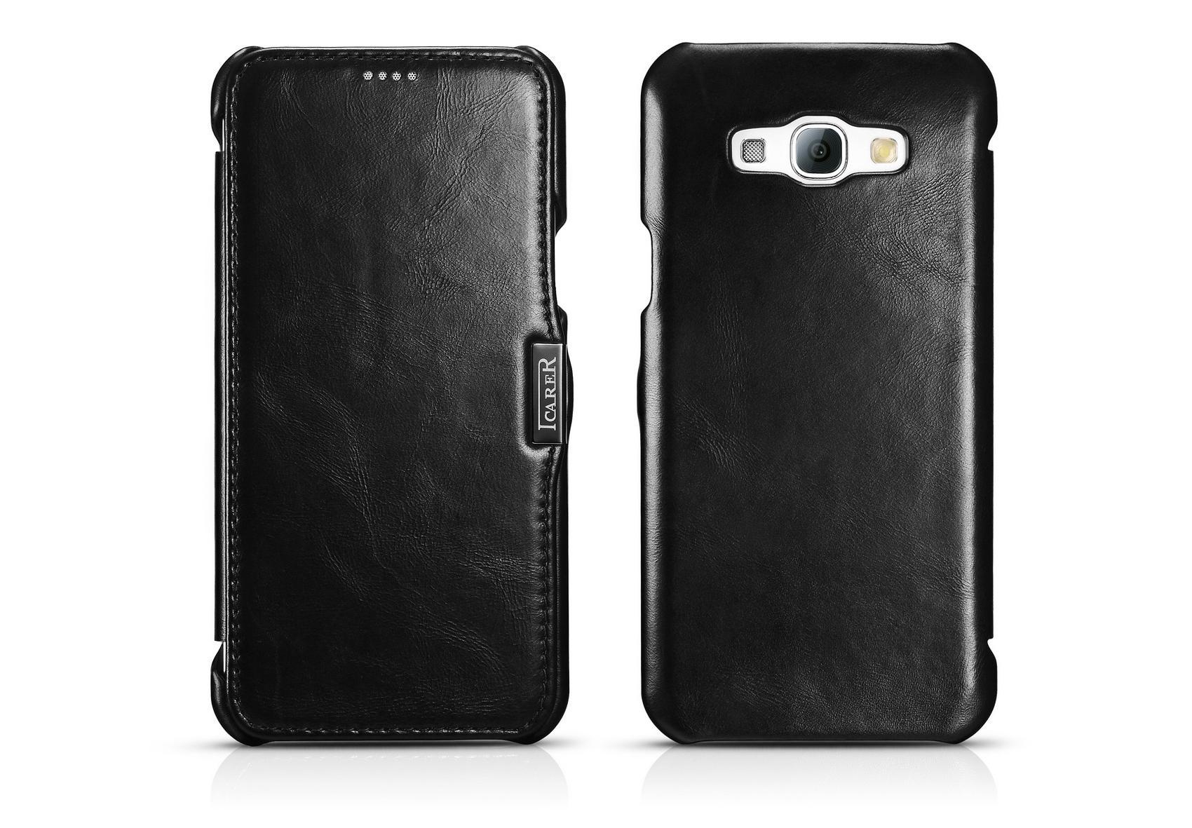 iCarer Samsung Galaxy A8 Case Vintage Series Open Side Genuine Leather Case 3