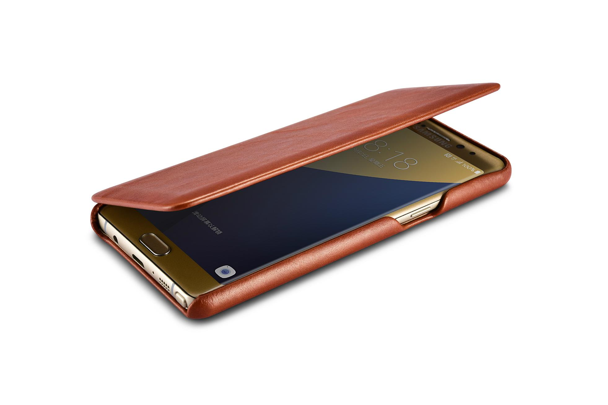 iCarer Samsung Galaxy Note 7 Curved Edge Vintage Side Open Genuine Leather Case 6