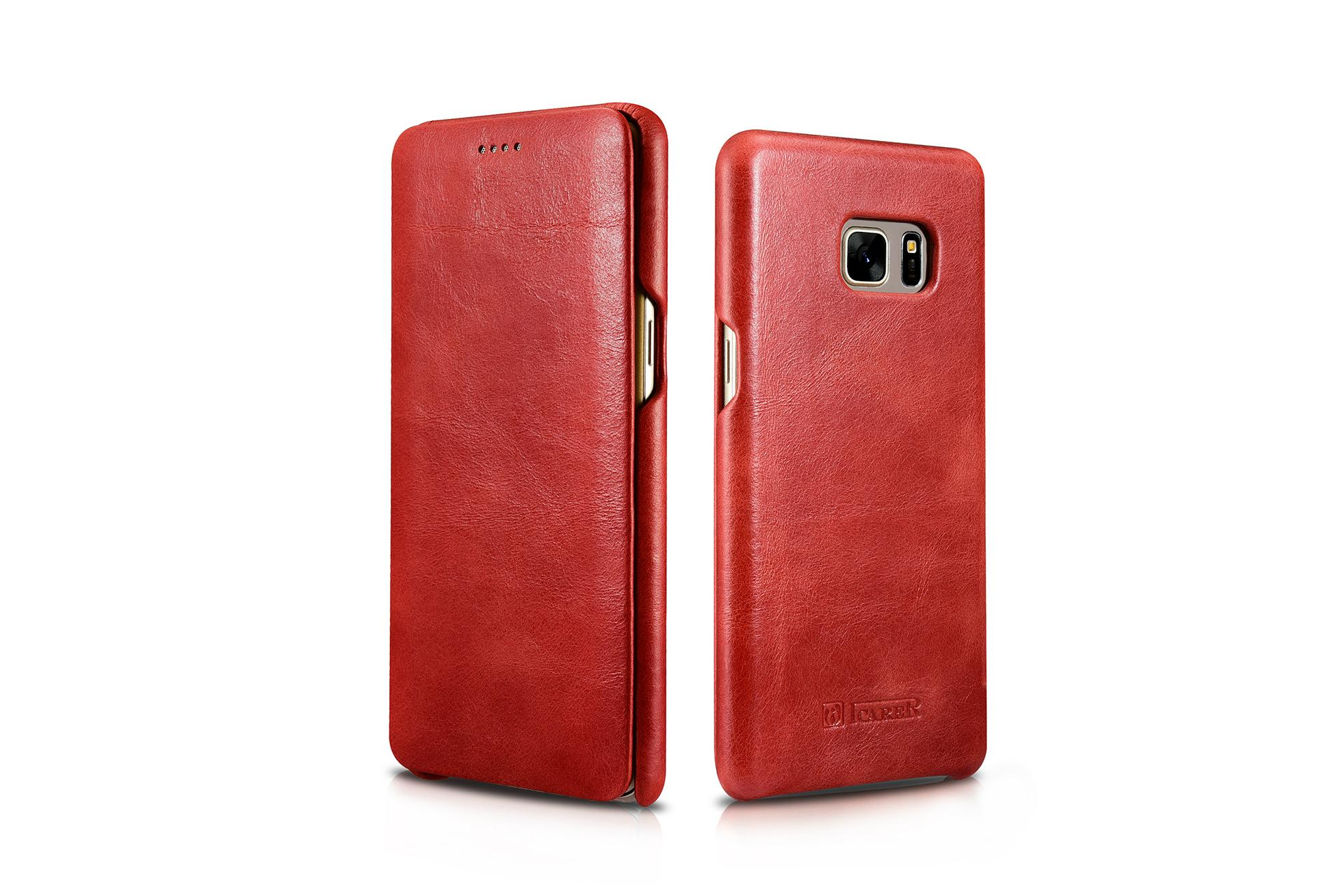 iCarer Samsung Galaxy Note 7 Curved Edge Vintage Side Open Genuine Leather Case 2