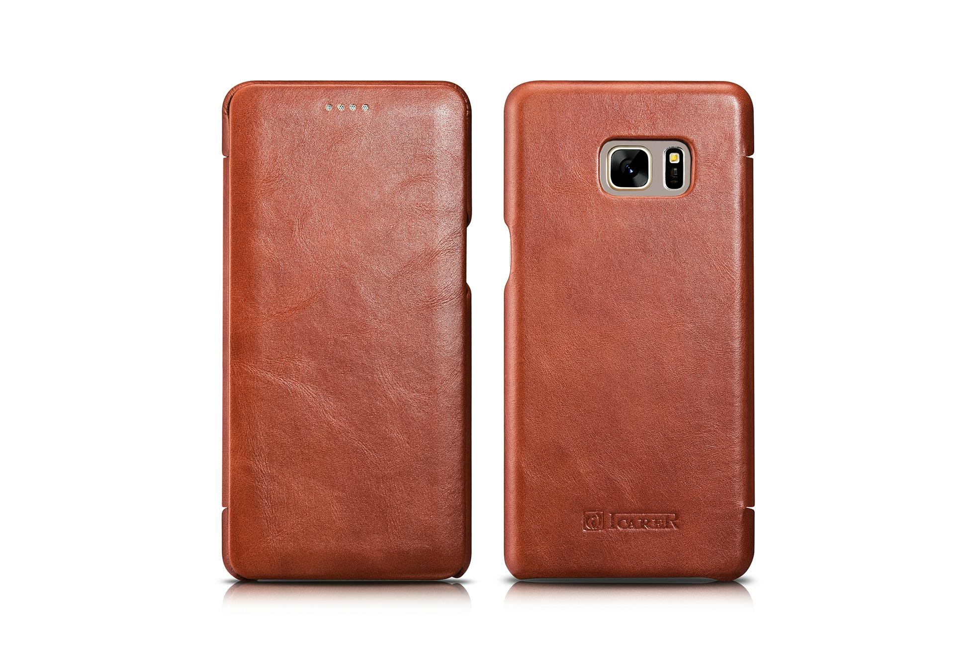 iCarer Samsung Galaxy Note 7 Curved Edge Vintage Side Open Genuine Leather Case 15