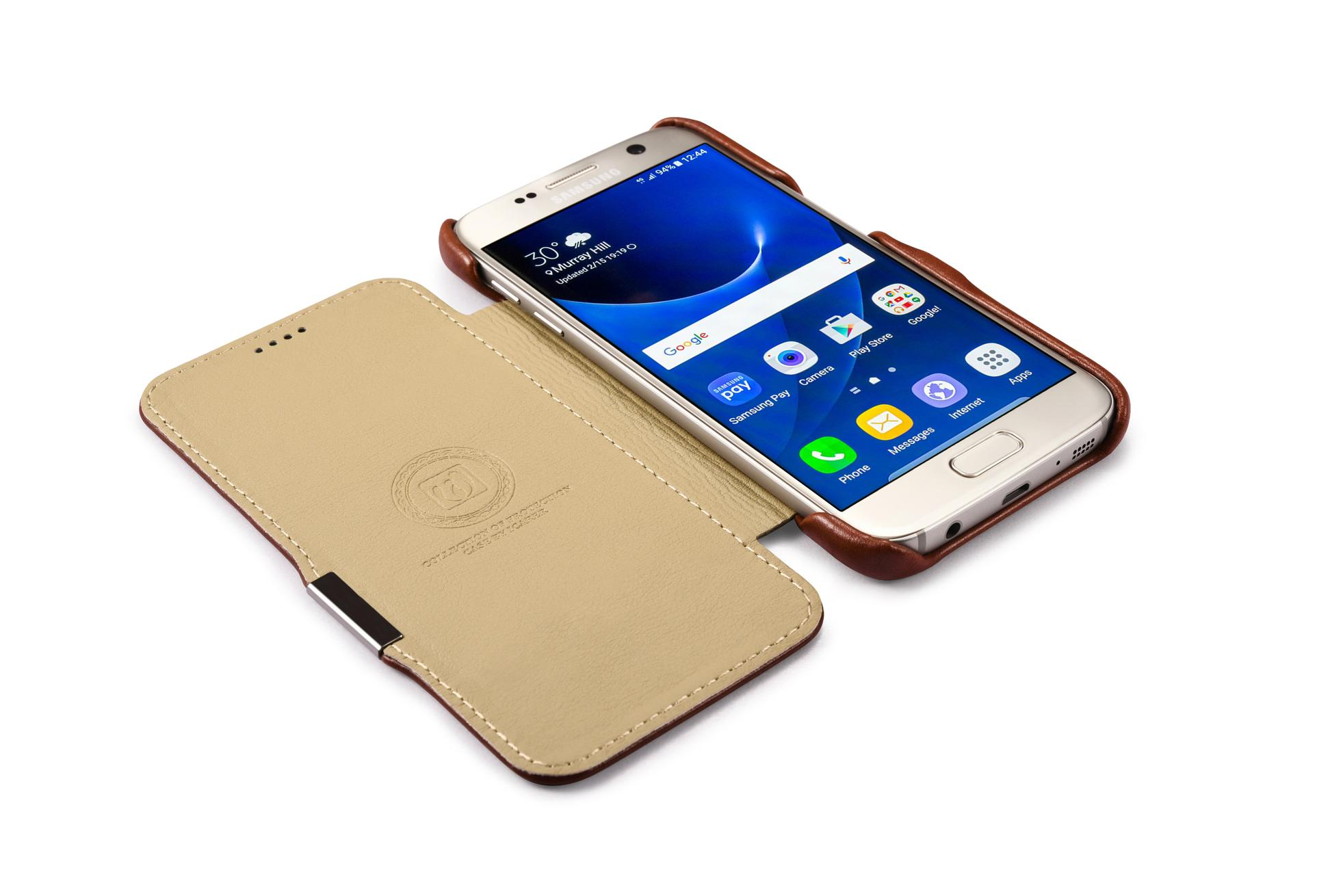 iCarer Samsung Galaxy S7 Vintage Series Side Open Genuine Leather Case 8