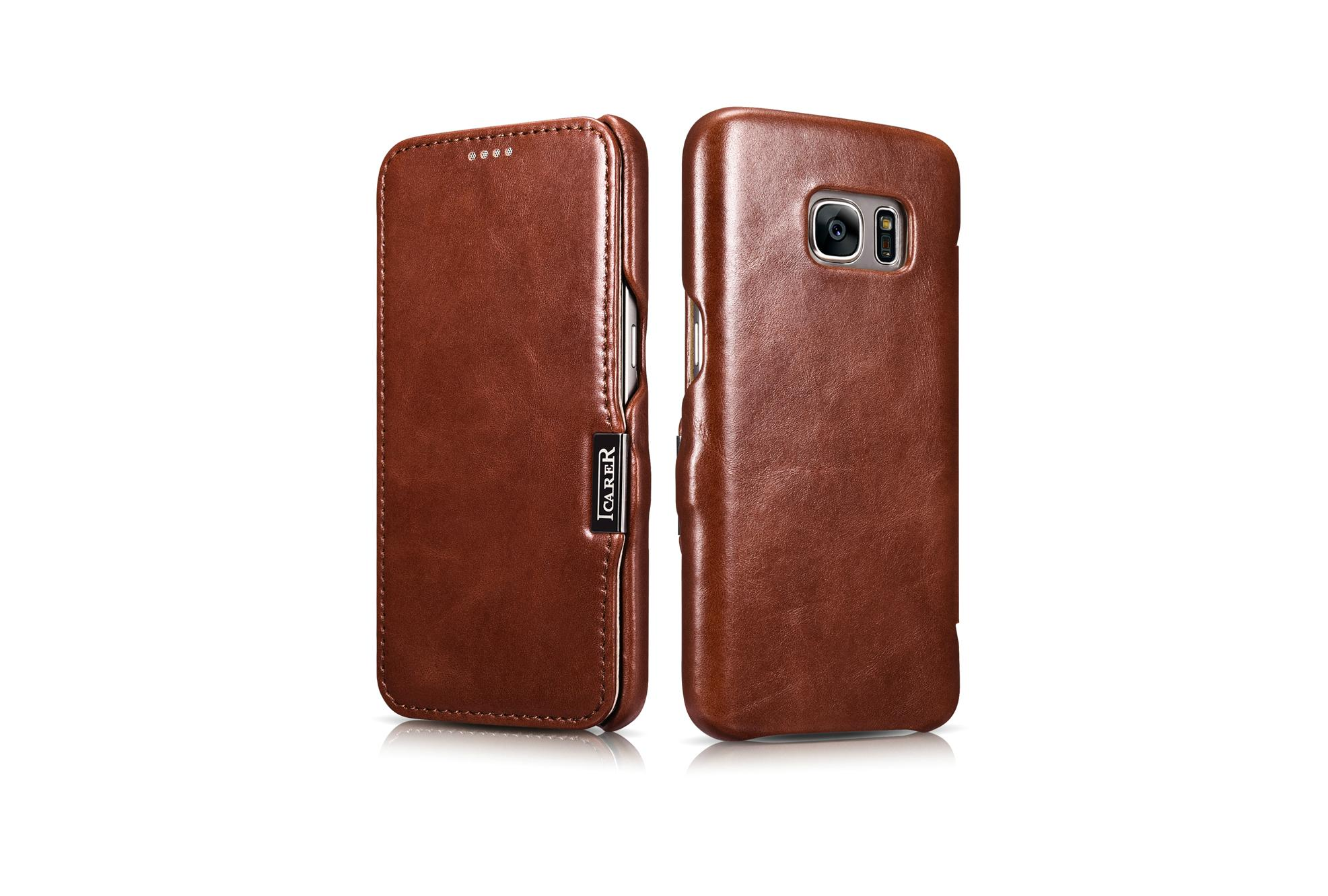 iCarer Samsung Galaxy S7 Vintage Series Side Open Genuine Leather Case 15