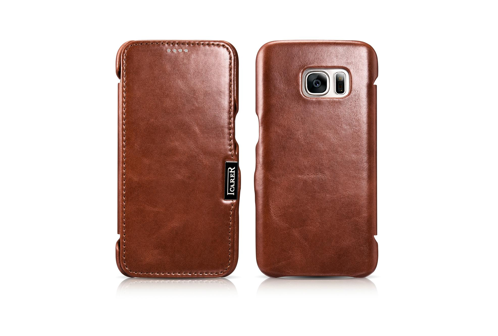 iCarer Samsung Galaxy S7 Vintage Series Side Open Genuine Leather Case 12