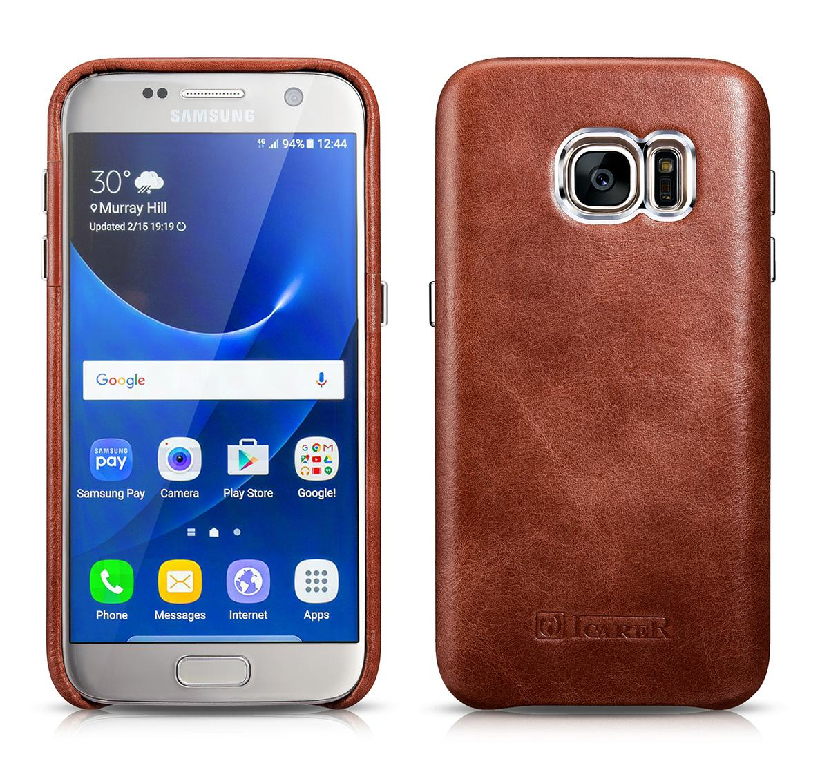 iCarer Samsung Galaxy S7 Vintage Back Cover Series Genuine Leather Case 1