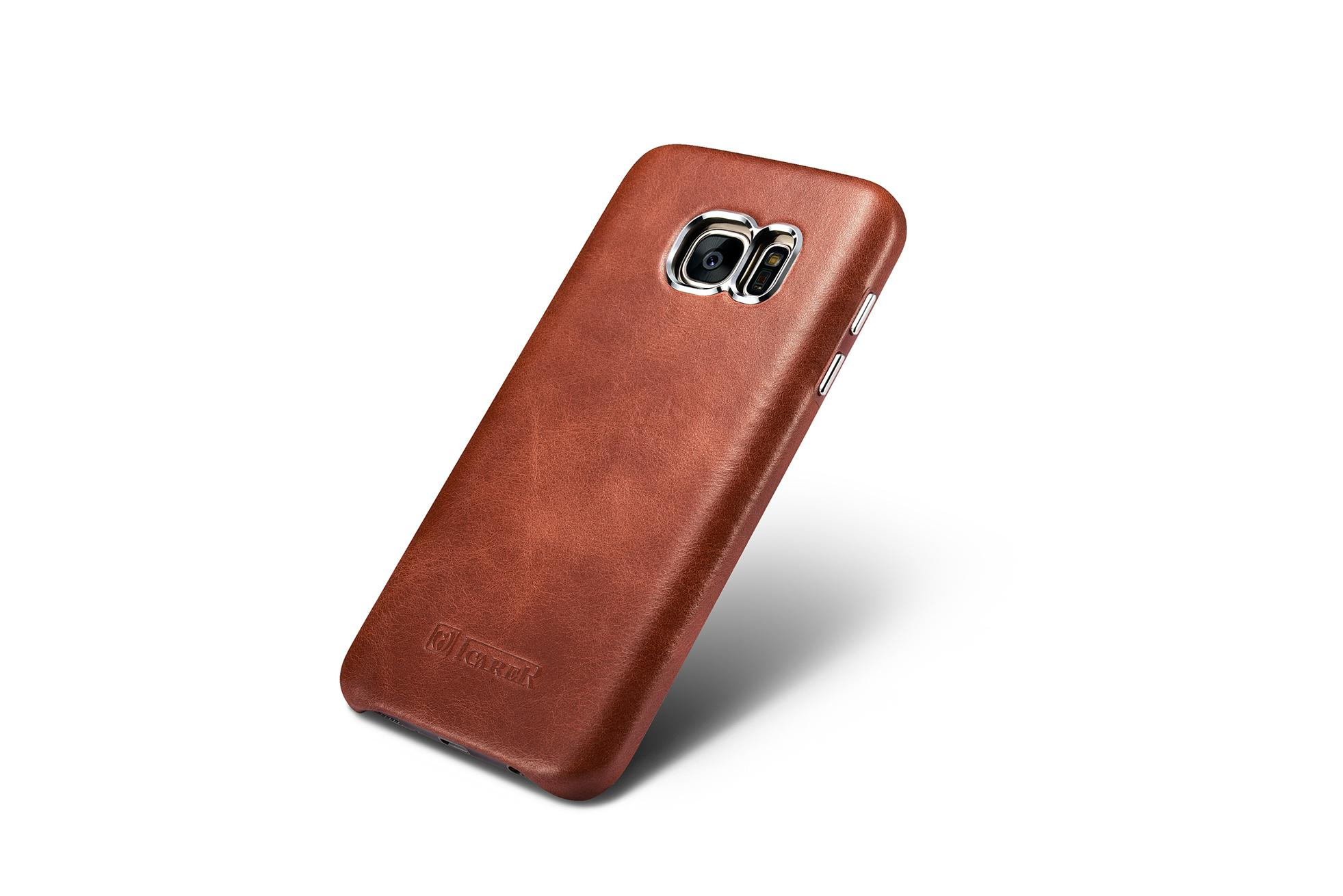 iCarer Samsung Galaxy S7 Vintage Back Cover Series Genuine Leather Case 2