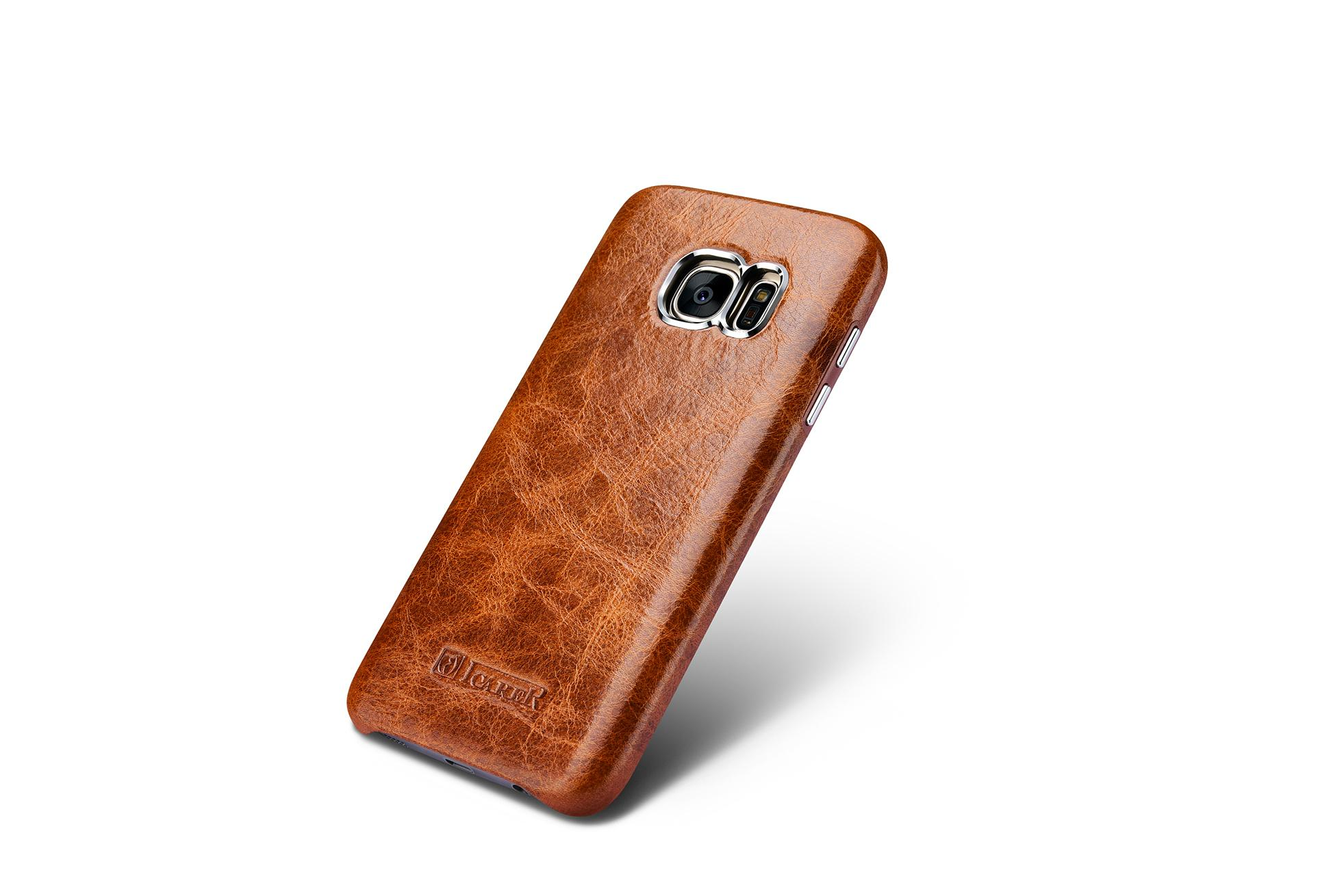 iCarer Samsung Galaxy S7 Oil Wax Back Cover Series Genuine Leather Case 2