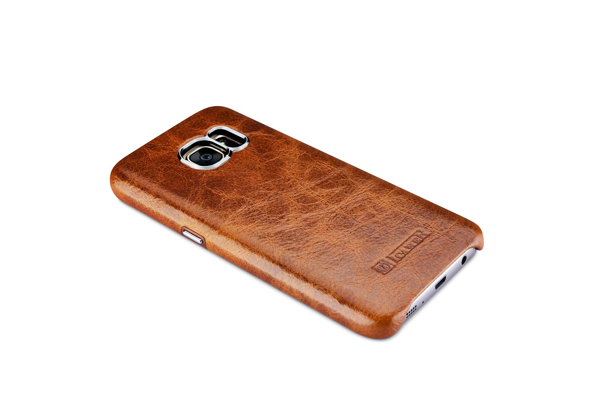 iCarer Samsung Galaxy S7 Oil Wax Back Cover Series Genuine Leather Case 6