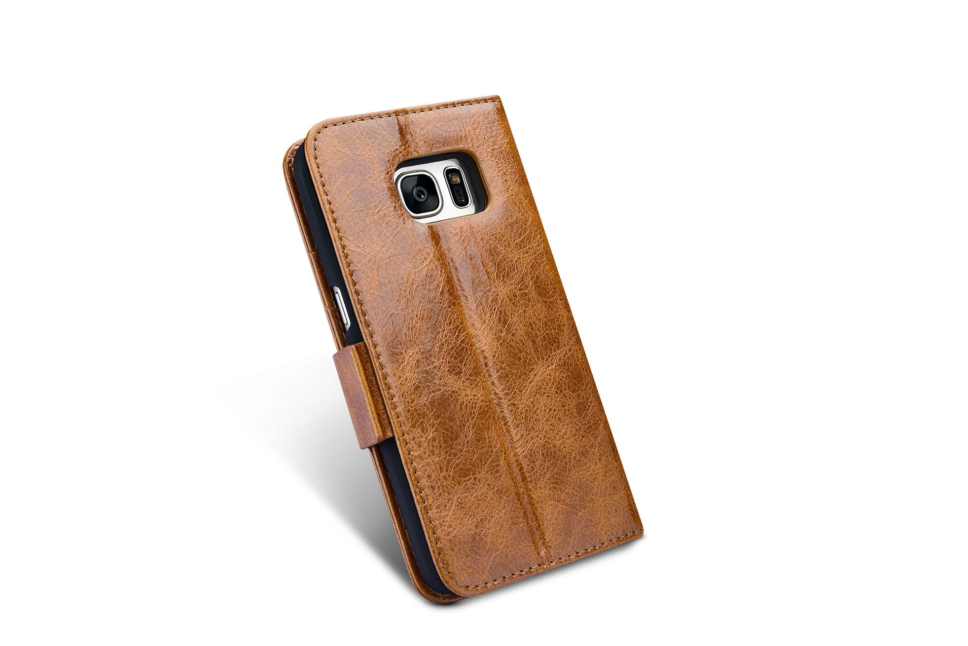 iCarer Samsung Galaxy S7 Oil Wax Leather Detachable 2 in 1 Wallet Folio Case 5