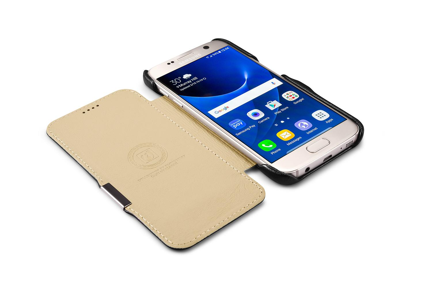 iCarer Samsung Galaxy S7 Luxury Series Side Open Genuine Leather Case 8