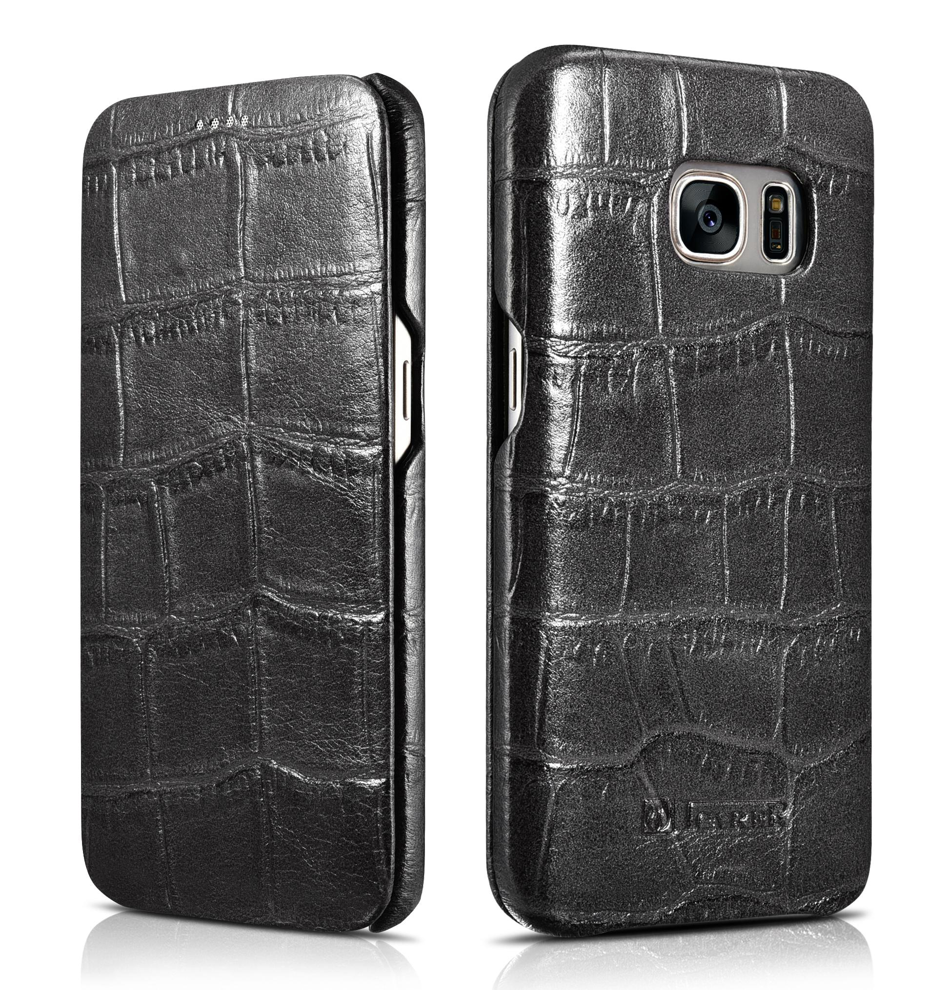 iCarer Samsung Galaxy S7 Embossed Crocodile Genuine Leather Folio Case 1