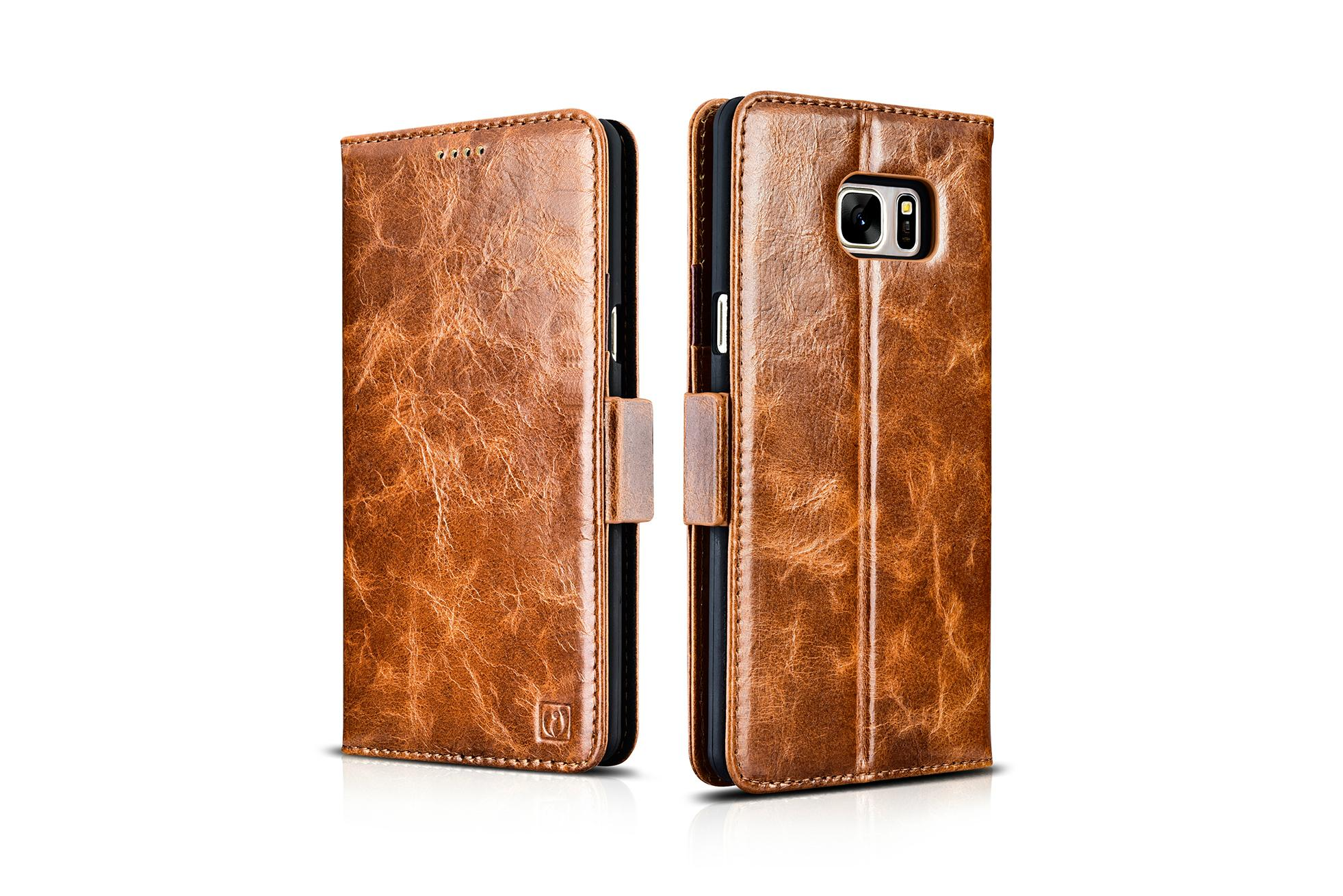 iCarer Samsung Galaxy Note 7 Oil Wax Genuine Leather Wallet Folio Case 13