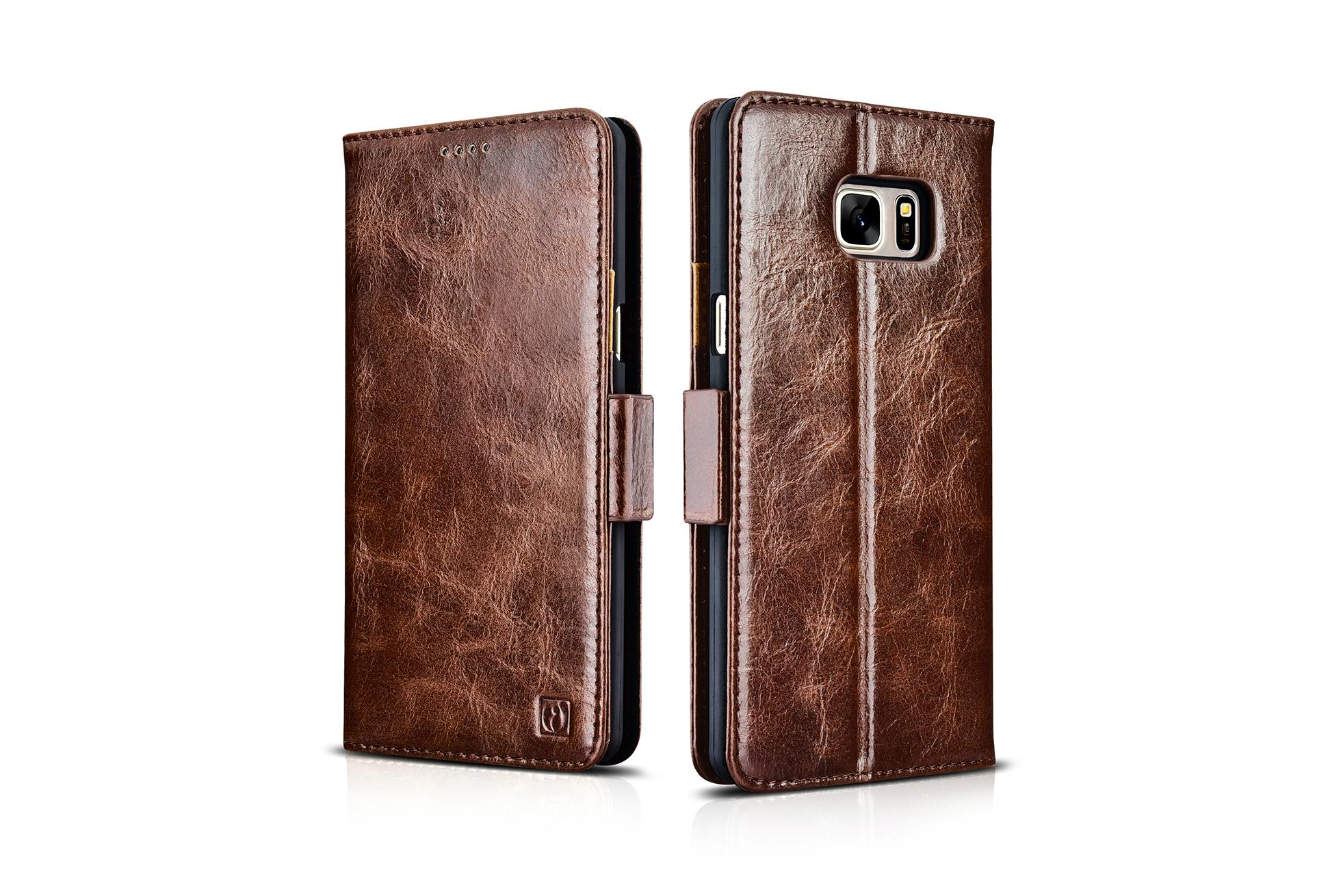 iCarer Samsung Galaxy Note 7 Oil Wax Genuine Leather Wallet Folio Case 14