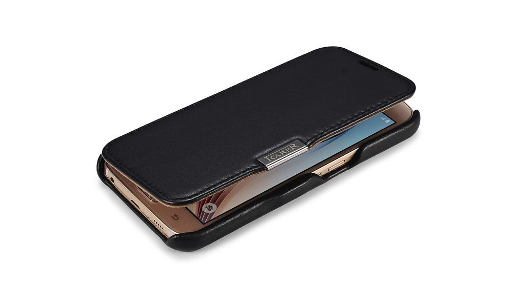 iCarer Samsung Galaxy S6 Side Open Luxury Series Genuine Leather Case Cover 4