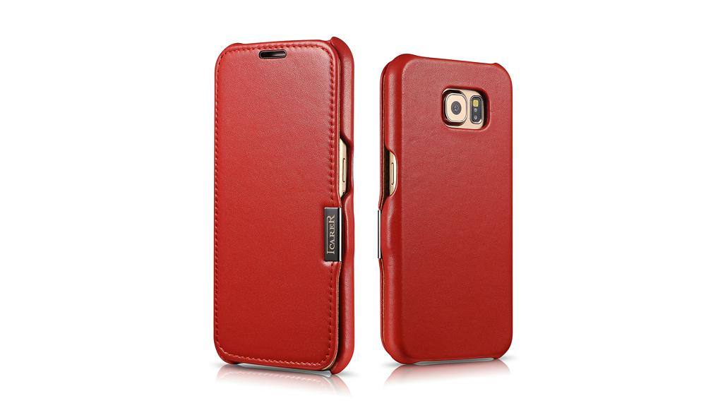 iCarer Samsung Galaxy S6 Side Open Luxury Series Genuine Leather Case Cover 10