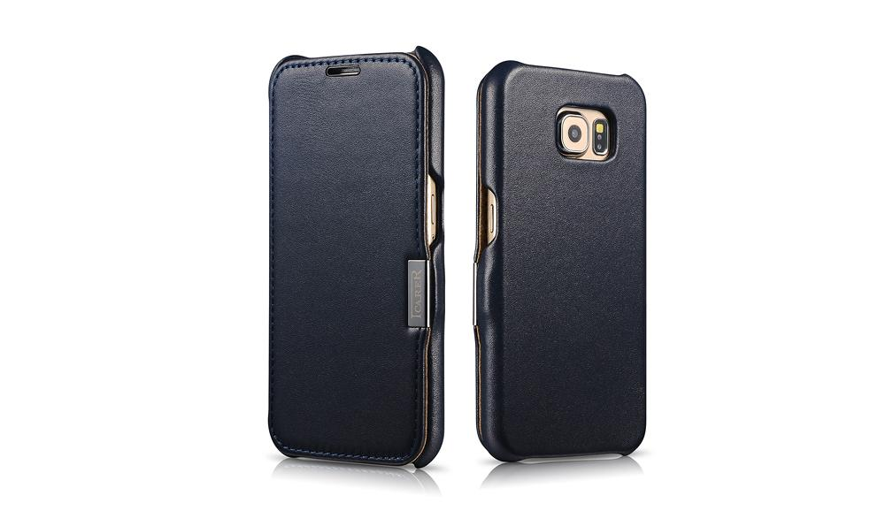 iCarer Samsung Galaxy S6 Side Open Luxury Series Genuine Leather Case Cover 11